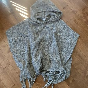 GARAGE Oversized Knitted Hooded Poncho Sweater